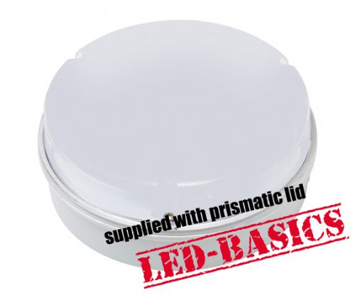 LED-Basics, Ceiling Light, Maximo 14W 2D LED Flush, White body, Prismatic Cover